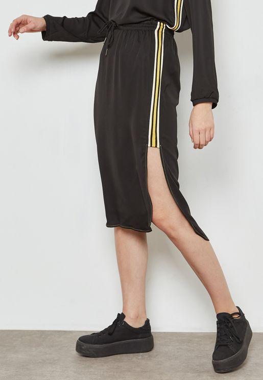 Striped Rib Side Detail Skirt