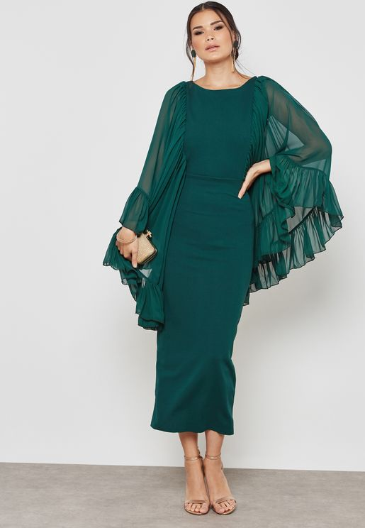 Ruffle Sleeves Dress