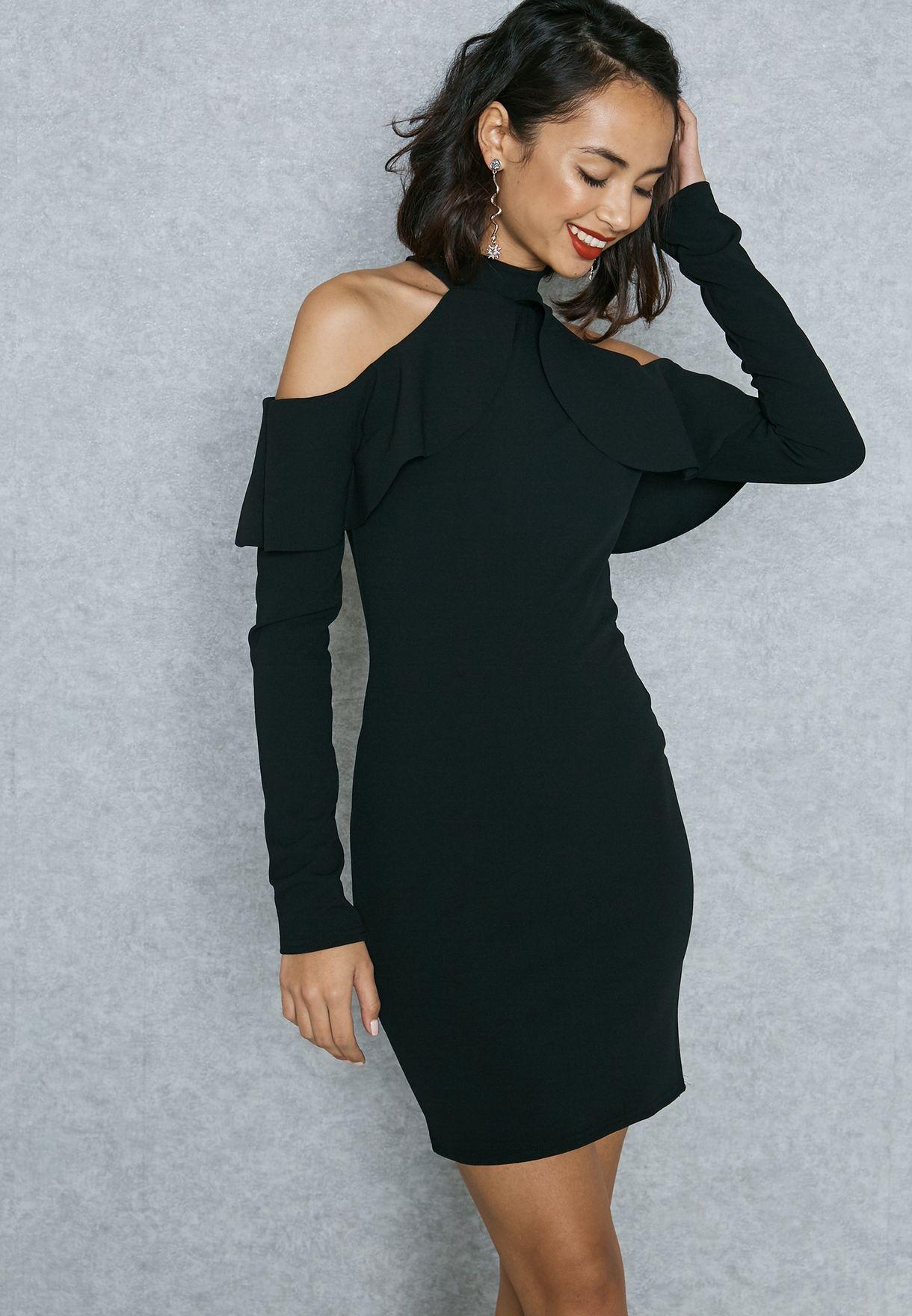 dd479871e6 Shop Missguided black Ruffle Cold Shoulder Dress DE907852 for Women ...