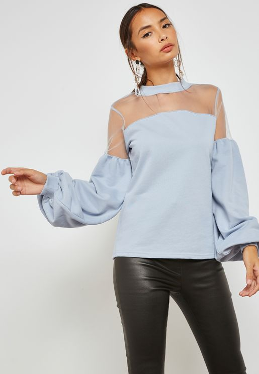 Mesh Insert Sweat Top With Baloon Sleeves