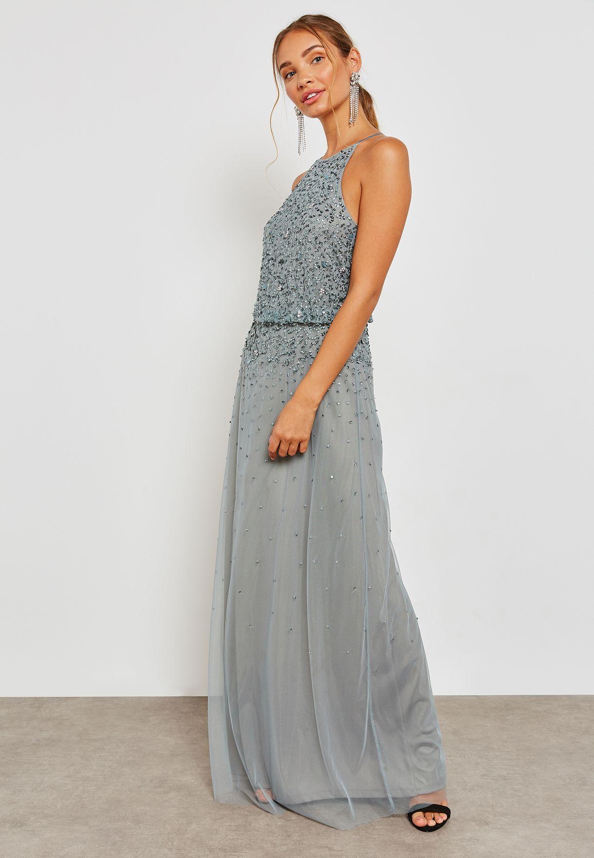High Neck Embellished Dress