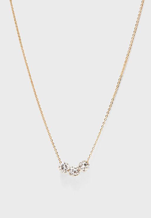 Rhinestone Bauble Charm Necklace