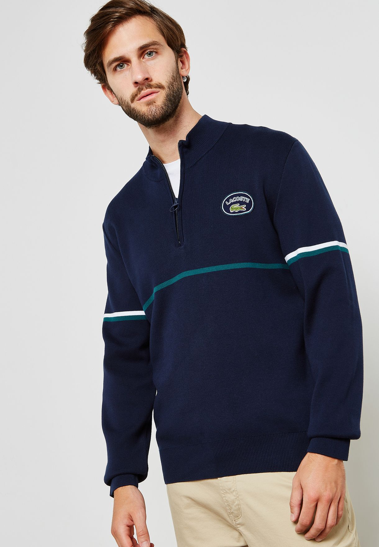 1/4 Zip Stand Up Collar Sweater