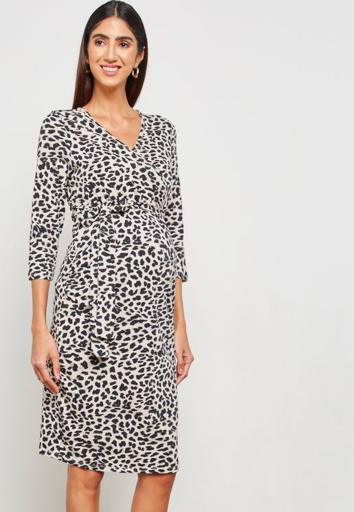 Leopard Print Ruched Wrap Dress
