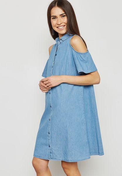 Denim Cold Shoulder Shirt Dress