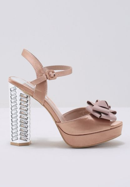 Bejewelled Metallic Block Heel With Bow Sandal