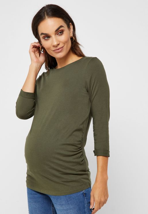 Maternity Khaki 3/4 Sleeve T-Shirt