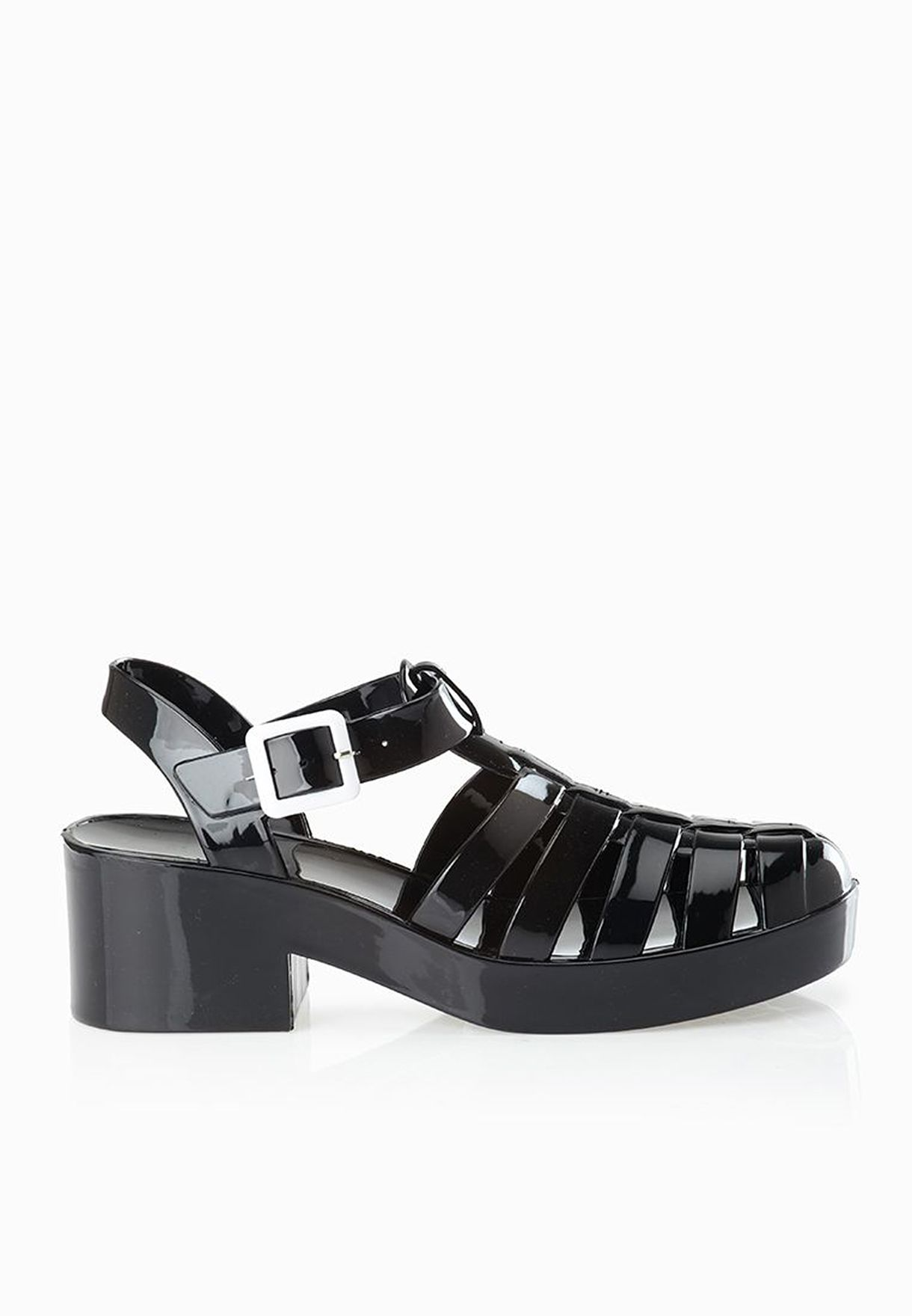 edb9cfff45 Shop New Look black Jijelly Chunky Heeled Jelly Sandals for Women in ...