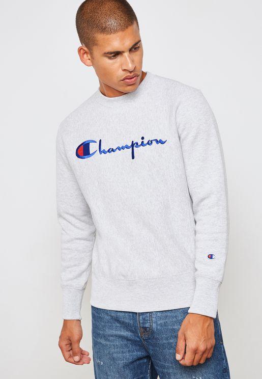Reverse Weave Applique Sweatshirt