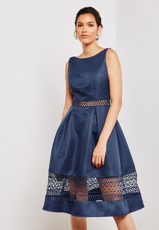 Low Back Lace Insert Dress