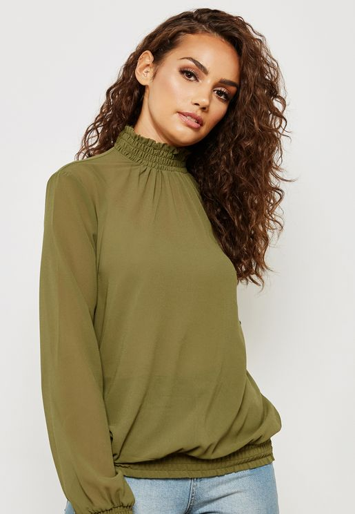 High Neck Ruffle Detail Top