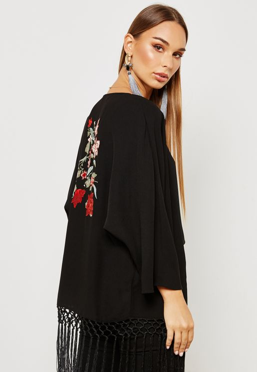 Back Embroidered Fringed Kimono