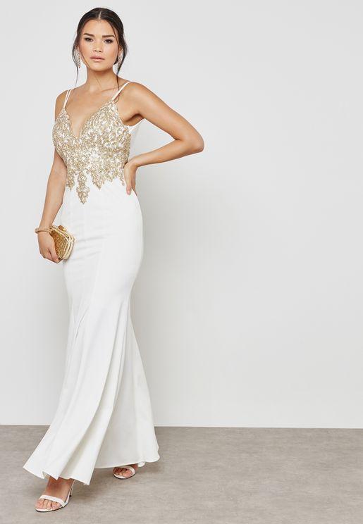 Embellished Plunge Low Back Dress
