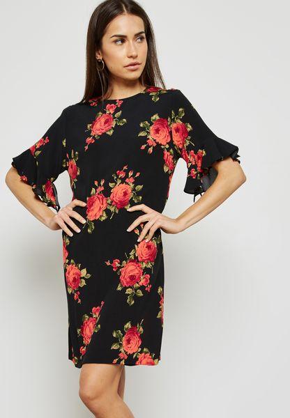 Ruffle Detail Floral Print Shift Dress