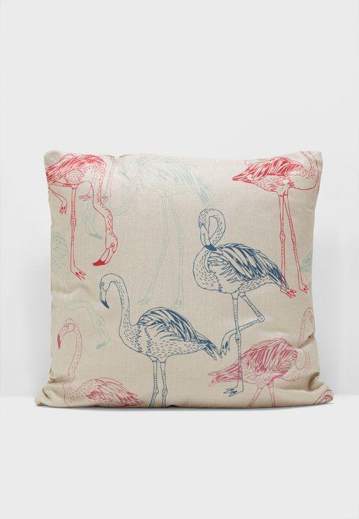 Flamingo Print Cushion Insert Included 45x45cm