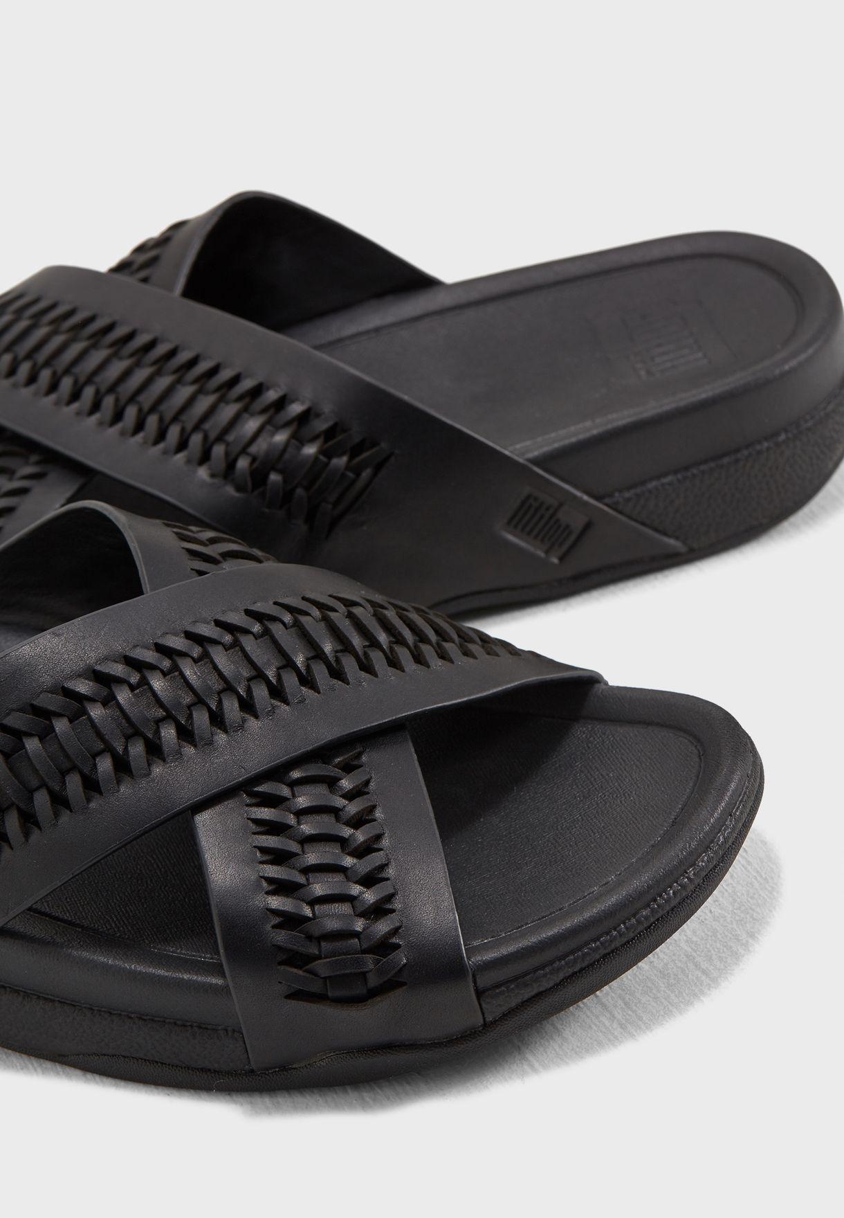 41c184fd5861e1 Shop Fitflop black Surfer Woven Leather Sandals L59-001 for Men in ...