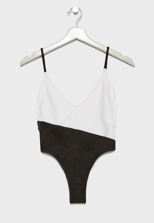 Contrast Ribbed High Leg Swimsuit