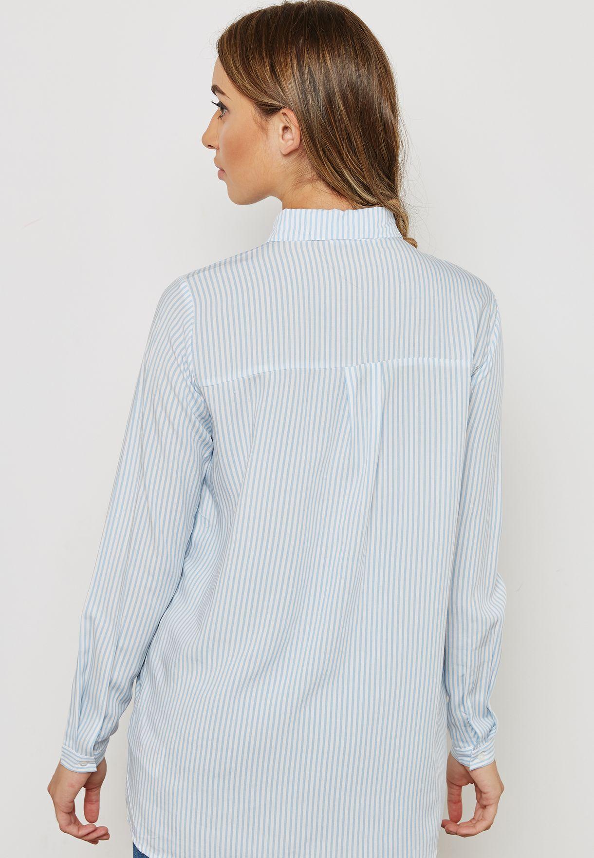 Striped High Neck Shirt
