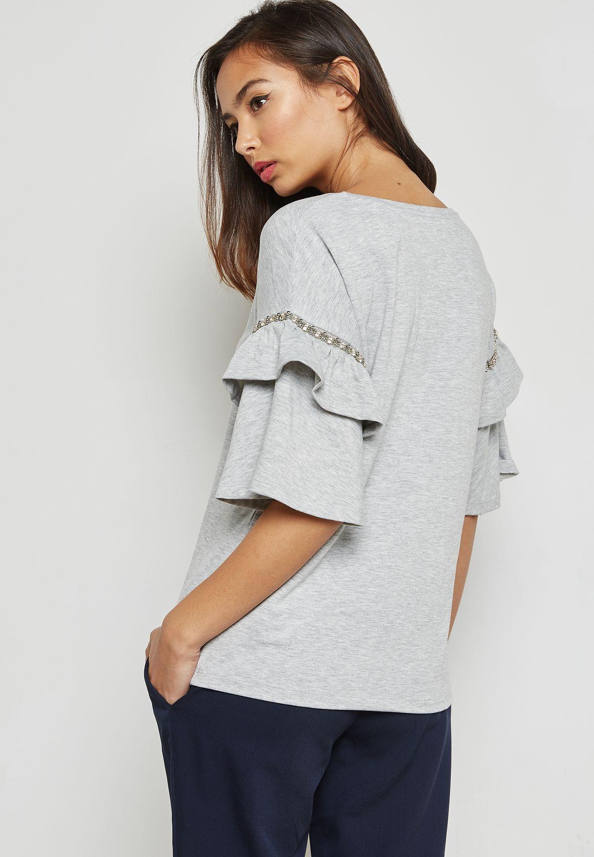 Embellished Ruffle Sleeve Top