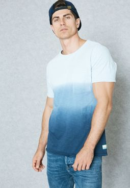 Ombre-Stripe Print T-Shirt