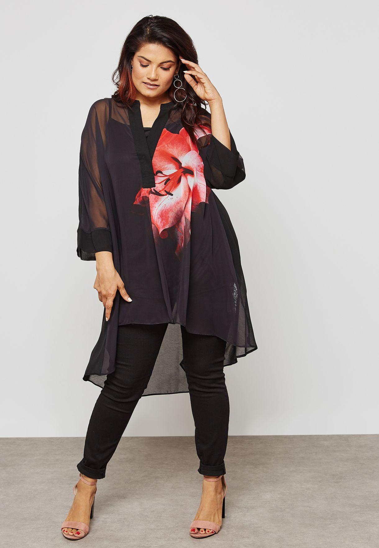 High Low Lily Print Shirt