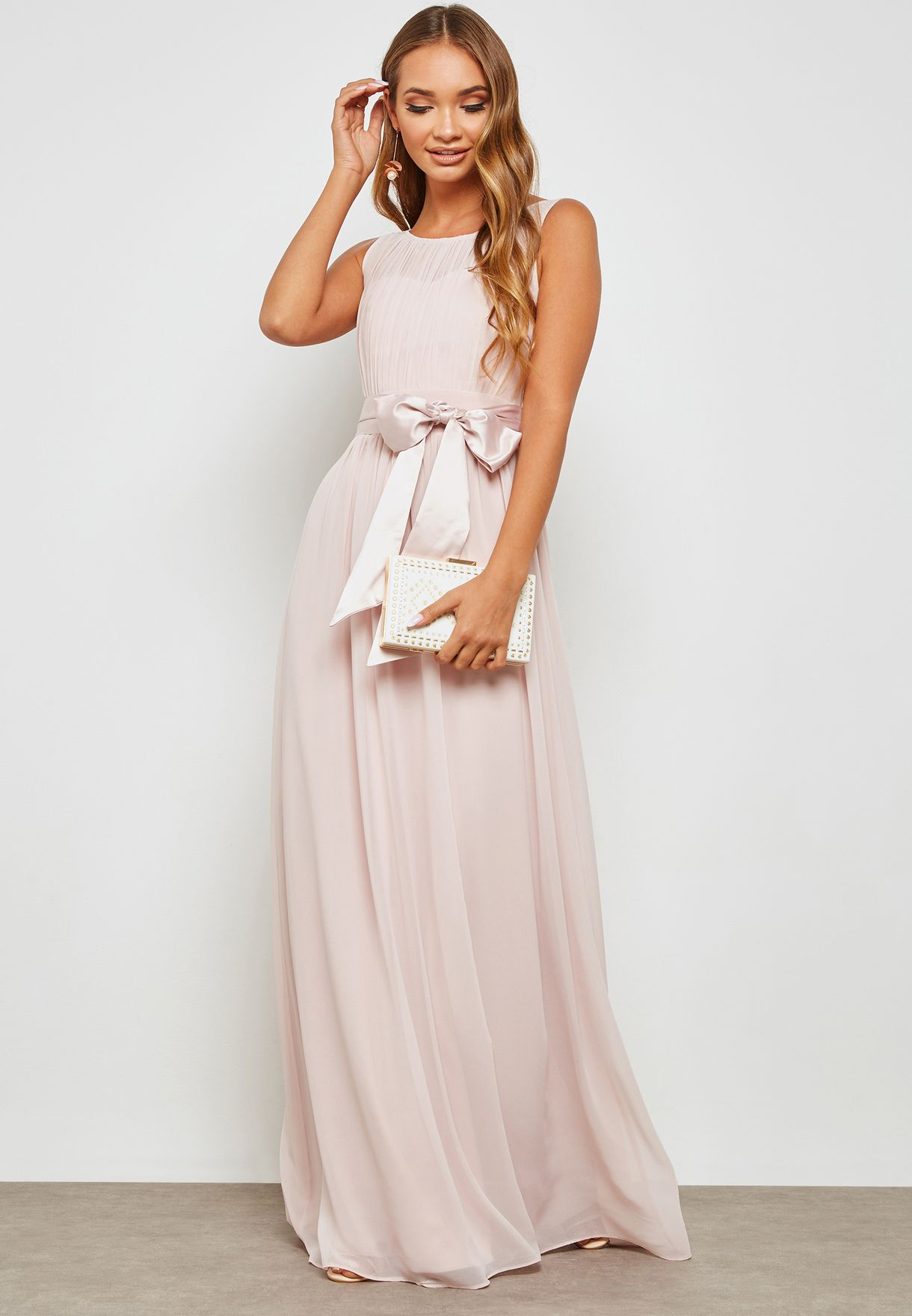 d8d1a97422 Shop Dorothy Perkins pink Satin Bow Detail Maxi Dress 12646155 for Women in  Kuwait - DO860AT42FYF