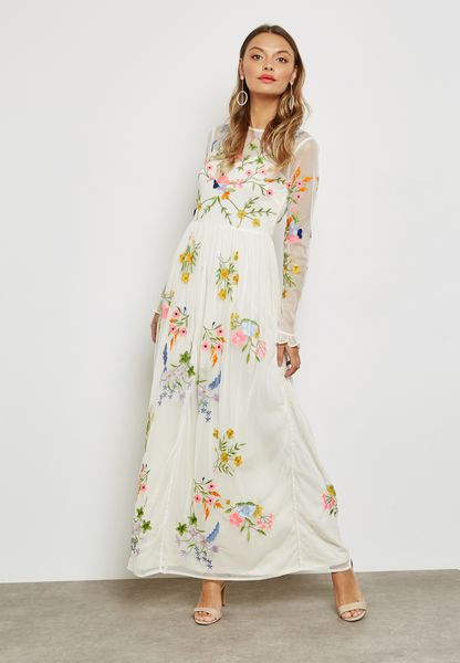 Sheer Detail Embroidered Maxi Dress