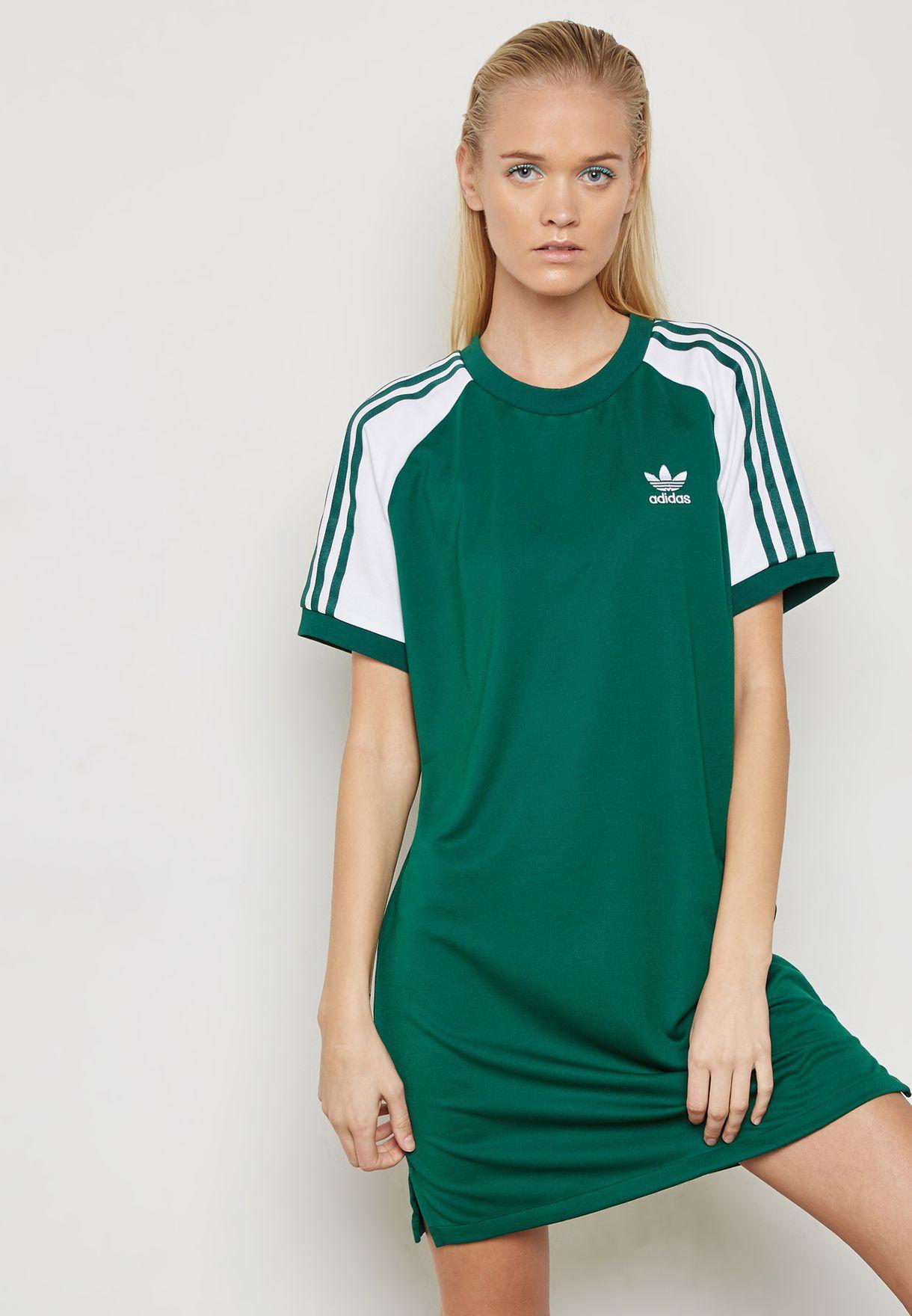54e36c9b869ce Shop adidas Originals green adicolor 3 Stripe Dress CE4963 for Women ...
