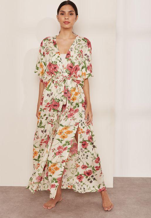 Babette Floral Tie Waist Robe