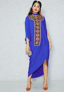 Embroidered High Neck Batwing Dress