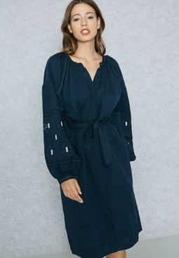 Belted Cuffed Sleeve Dress