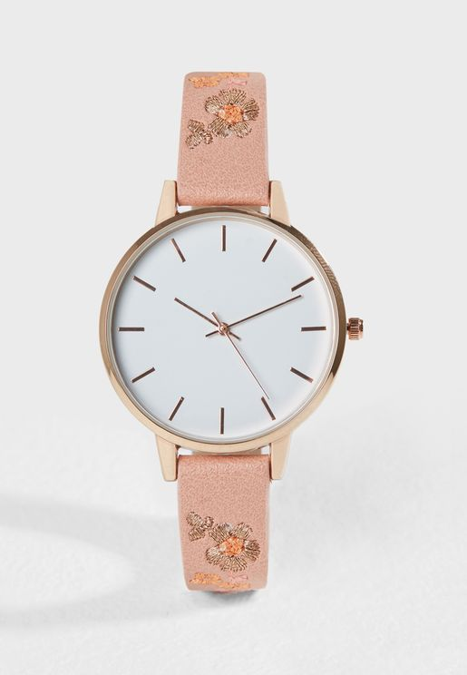 Peach Floral Watch