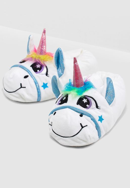 Jezebel Unicorn Multi Print Trim 3D Bedroom Slippe