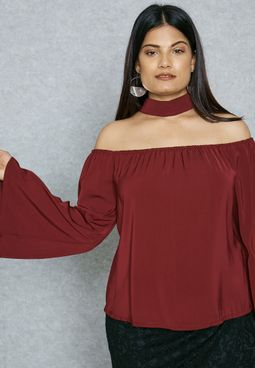 Choker Neck Bardot Top