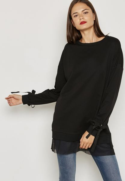 Tie Up Sleeve Sweater