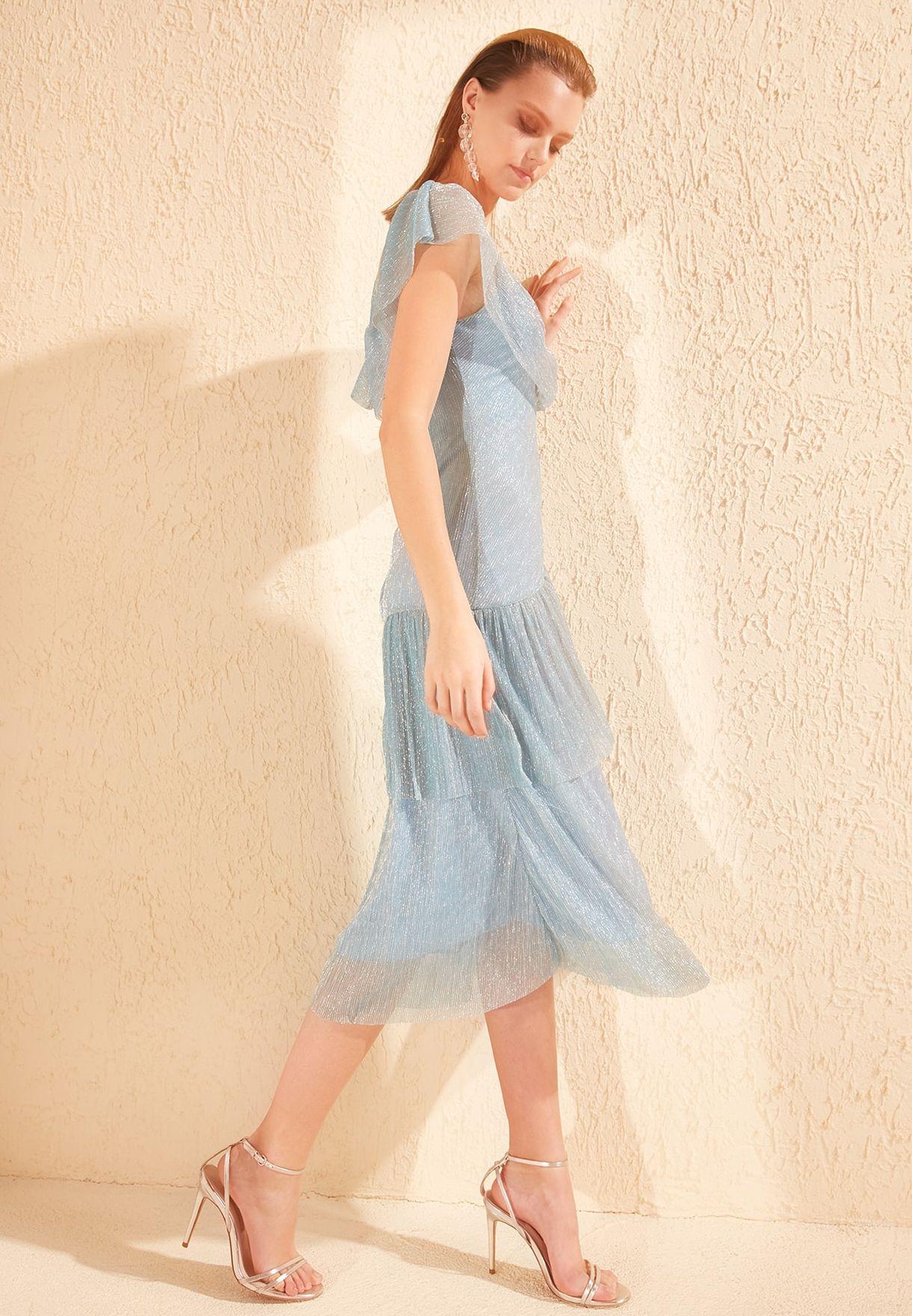 Button Detail Shimmer Dress