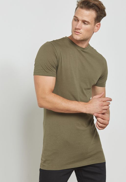 Muscle Fit Longline Essential T-Shirt