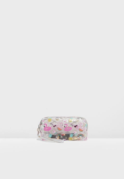 Flamingo Transparent Cosmetic Bag