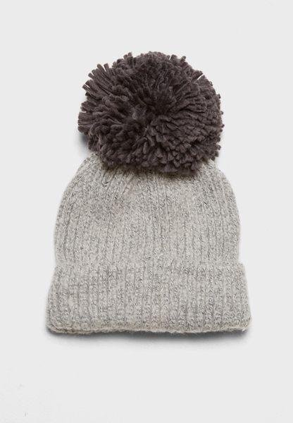 Big Knit Pompom Beanie Hat