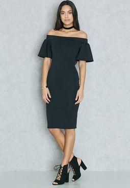 Ruffle Sleeve Bardot Dress