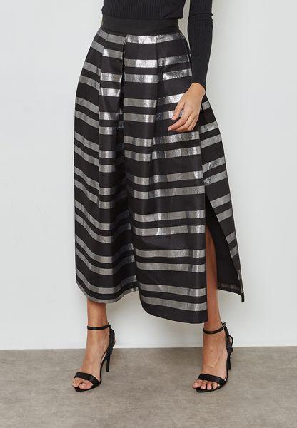 Metallic Striped Maxi Skirt