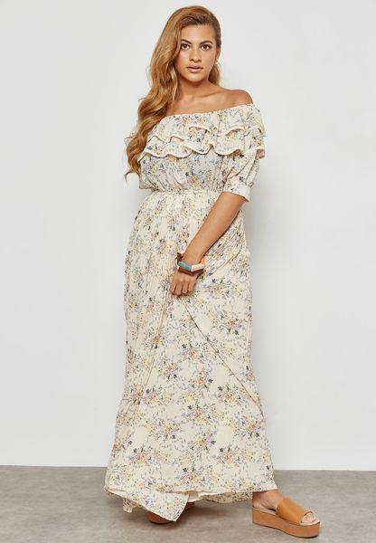 Floral Print Ruffle Bardot Maxi Dress