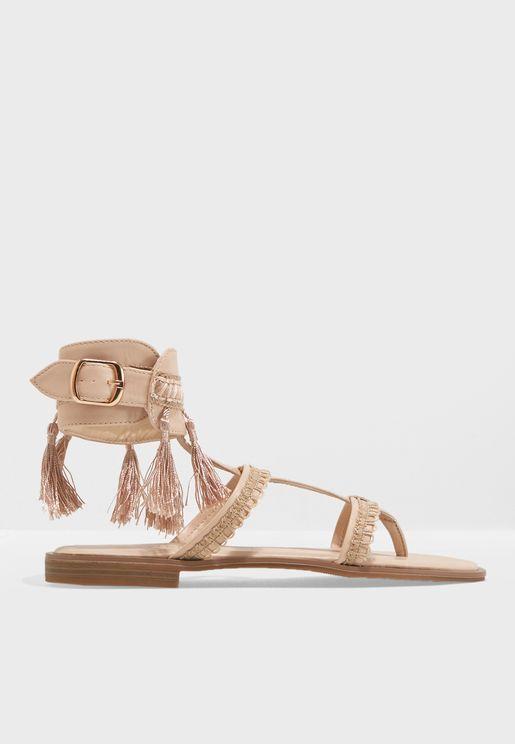 T Strap Flat Tassle Sandal