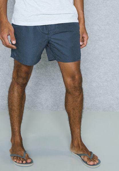 Polka Dot Print Swim Shorts
