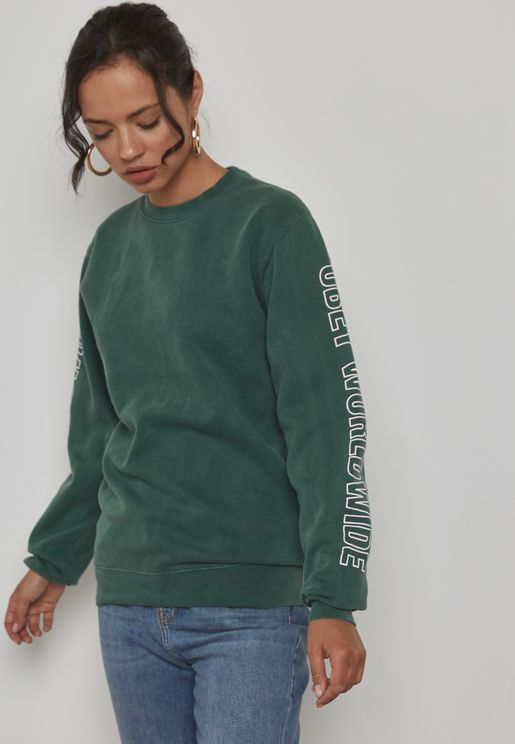 Slogan Sleeve Sweatshirt