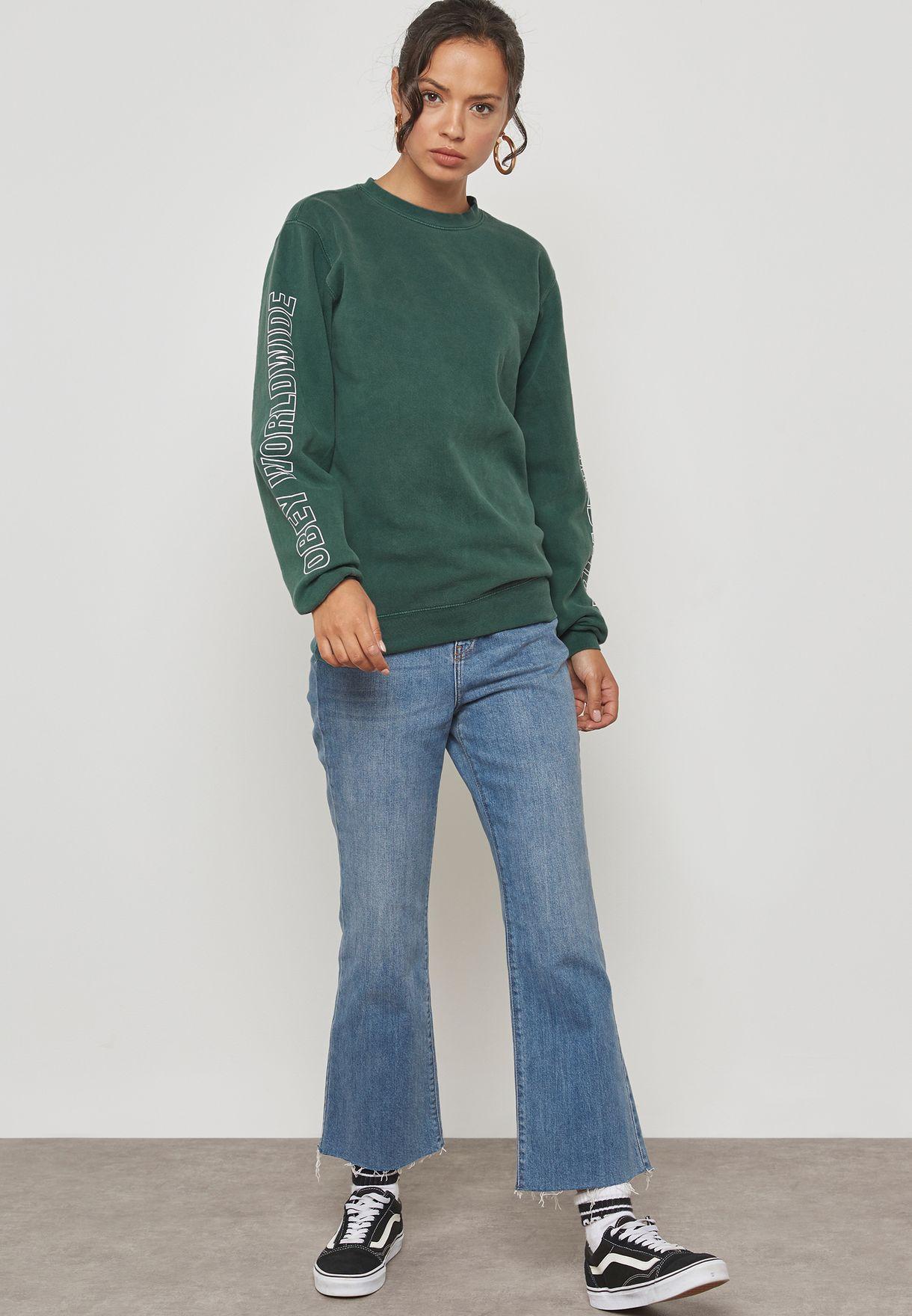 Slogan Sleeve Sweatshirt