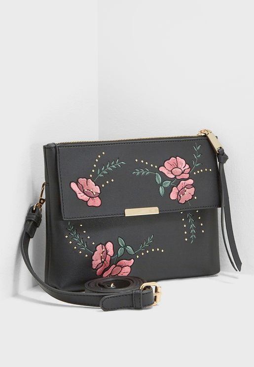 Emboridery Zip Top Crossbody