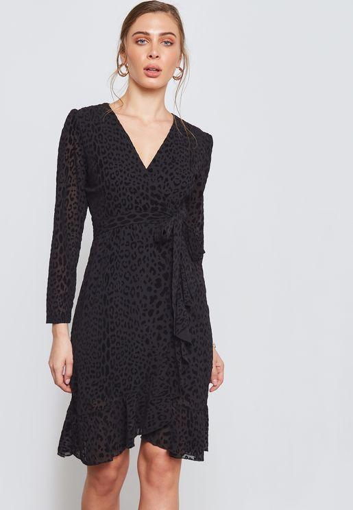 Leopard Print Wrap Front Ruffle Dress