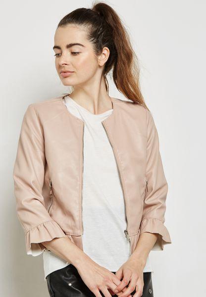 Ruffle Trim PU Jacket