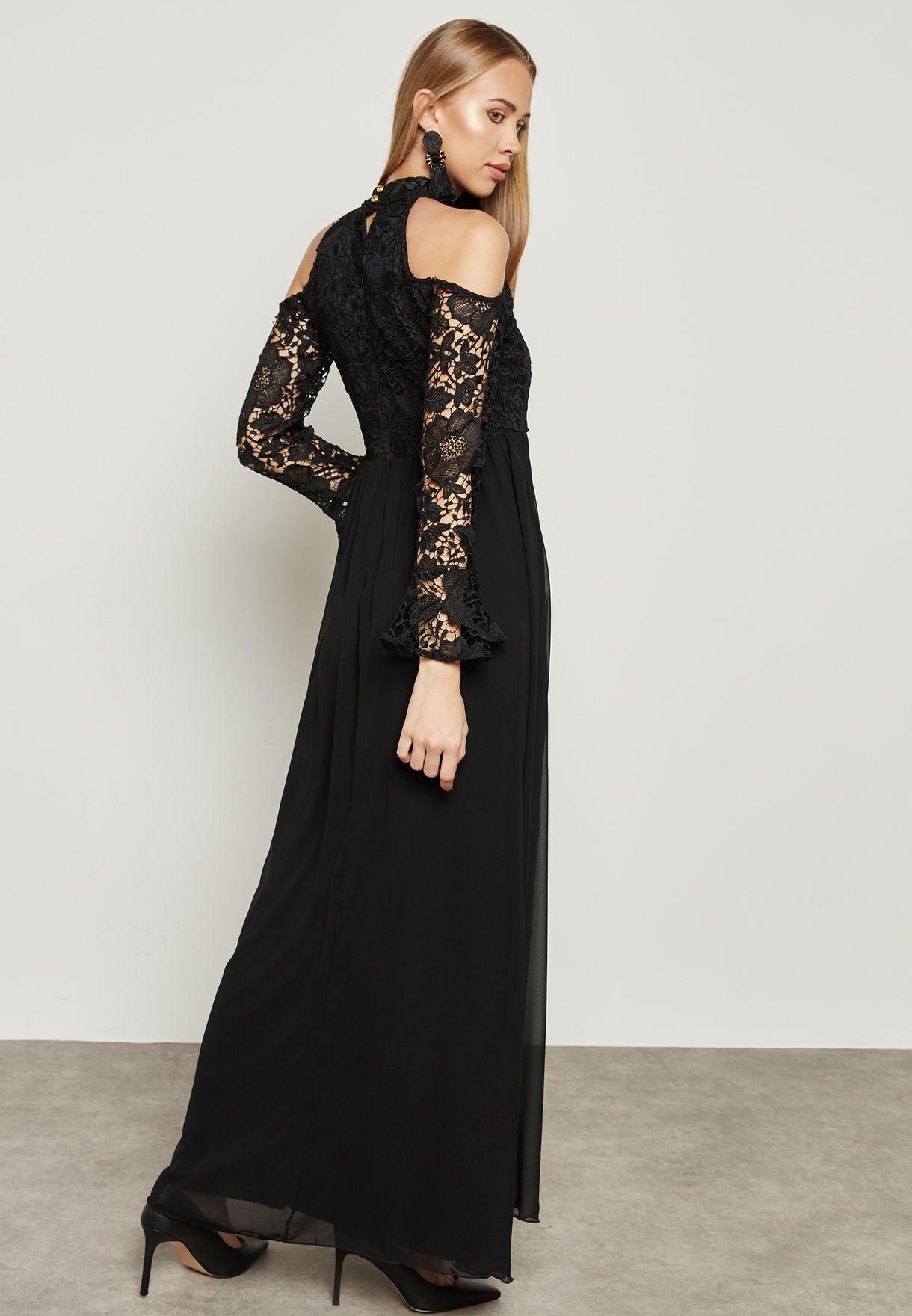 13261ced0edb94 Shop Ella Limited Edition black Lace Top Cold Shoulder Dress 2687 ...